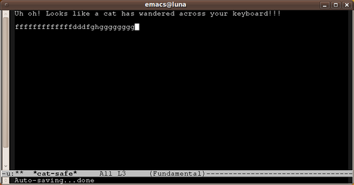 Emacs switches focus to a new buffer to stop cat damage.
